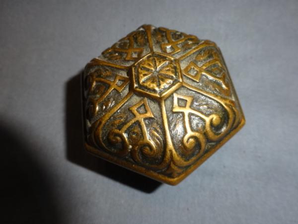 Antique Bronze c.1880 Hex Knob