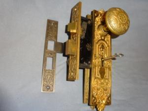 • Antique Bronze Entry Knob Set by P.F. Corbin