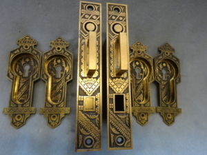Antique Pocket Door Set by Branford Lock Works