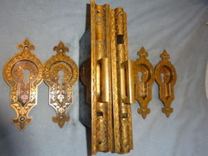 Two Antique Double Door Pocket Lock Sets