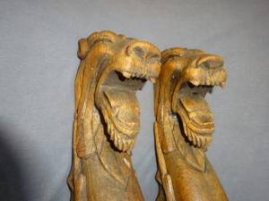 Antique Oak Lions/Griffins